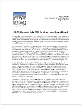 RSAR July 2013 Existing Home Sales Report
